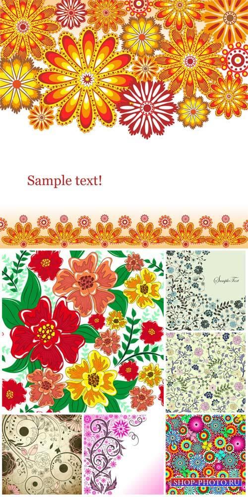 Цветочные узоры, векторные фоны с цветами / Floral patterns, vector backgro ...