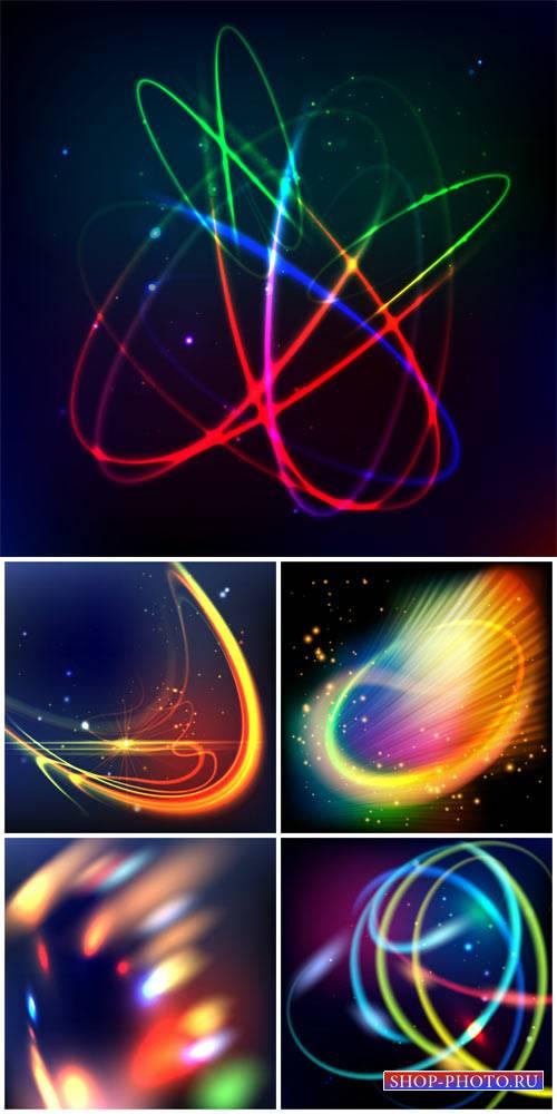Абстракция, цветные светящиеся линии, векторные фоны / Abstract, glowing li ...