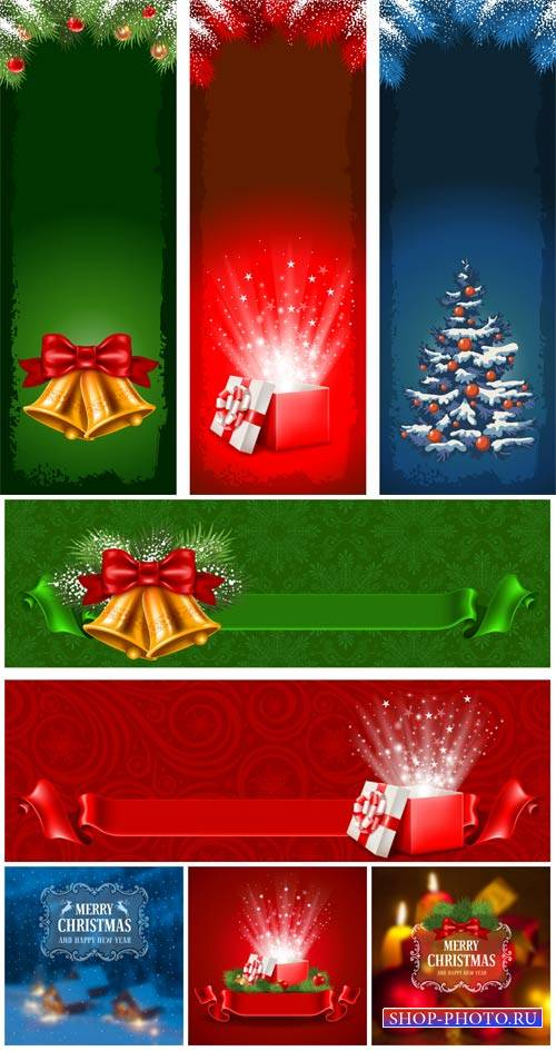 Рождественский вектор, баннеры с колокольчиками и елкой / Christmas vector, banners with bells and tree