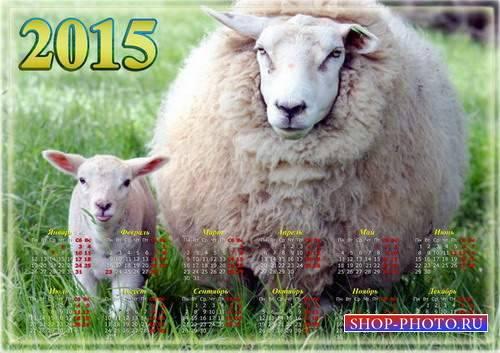 Настенный календарь на 2015 год с овечками