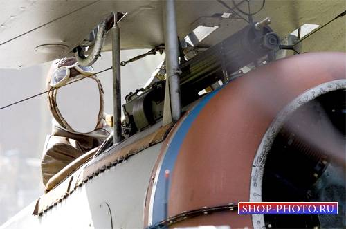 Шаблон psd - Пилот за штурвалом на кукурузнике