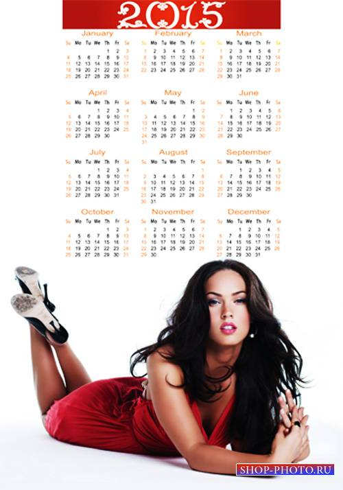 Календарь на 2015 год – Девушка в красном