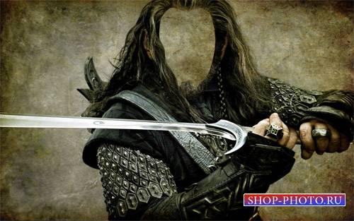 С мечом в руках - Photoshop шаблон