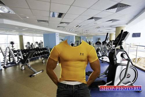 Шаблон psd мужской - Качок в зале для тренировок