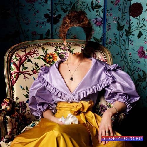 Шаблон psd - Женщина на кресле в платье