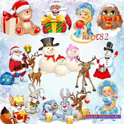 Подборка клипарта в PNG формате новогодних персонажей – Снеговики, снегуроч ...