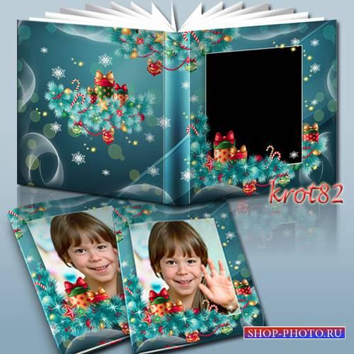 Шаблон новогодней фотокниги с рамками для фото – Елка светится огнями
