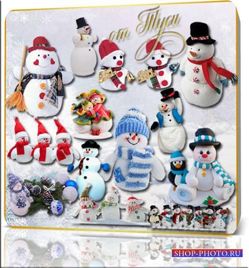 Новогодний клипарт - В центре внимания быть привык новогодний снеговик