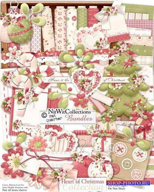 Праздничный новогодний скрап-комплект - Рождественнское сердце