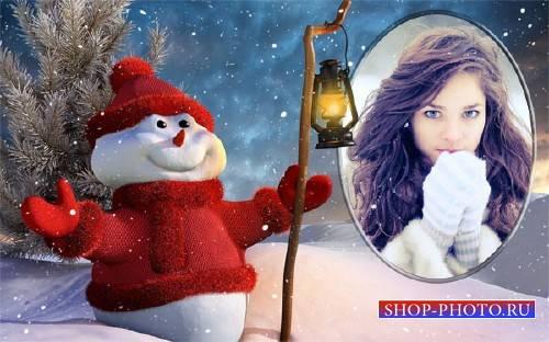Рамка psd - Снеговик с фонарем