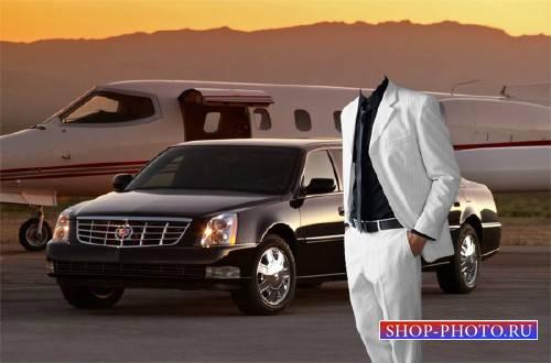 PSD шаблон для мужчин - Богатый бизнесмен в аэропорту