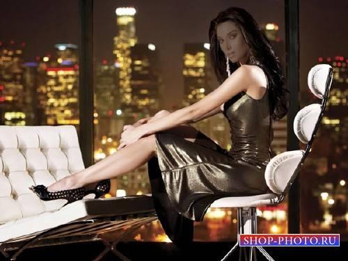 Шаблон женский - Девушка у окна в офисе