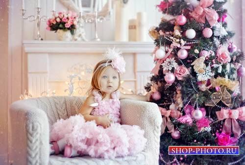 Шаблон детский - Хорошенькая принцесса и новогодняя ёлочка