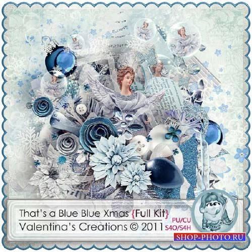 Нежный зимний скрап-комплект - Это голубое голубое Рождество