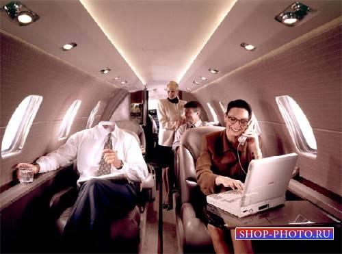 Богатый политик в своем самолете - Шаблон для фото