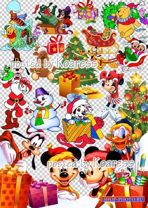 Детский зимний новогодний, рождественский png клипарт для фотошопа с героям ...