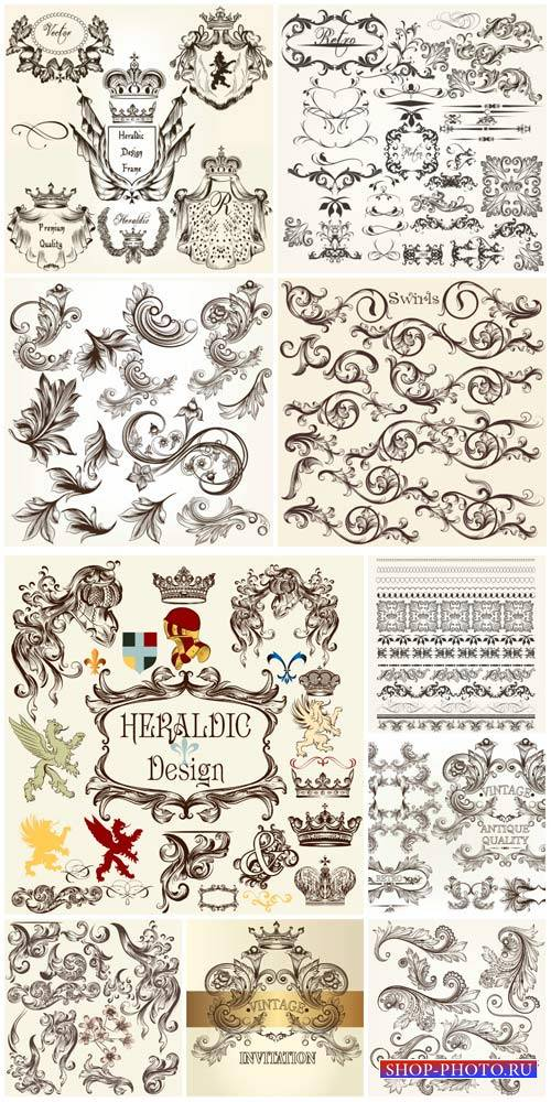 Design decorative elements vector, ornaments, heraldry