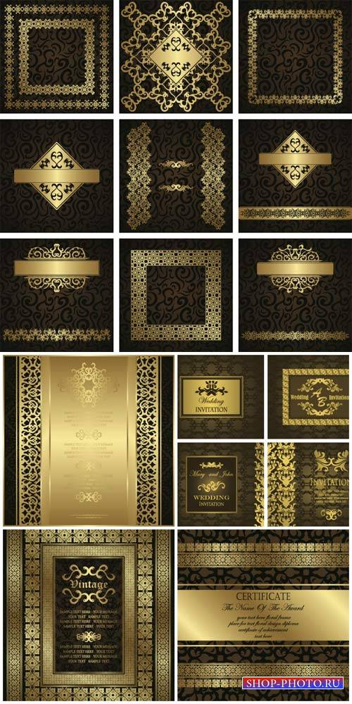 Vector backgrounds with golden vintage pattern, certificates