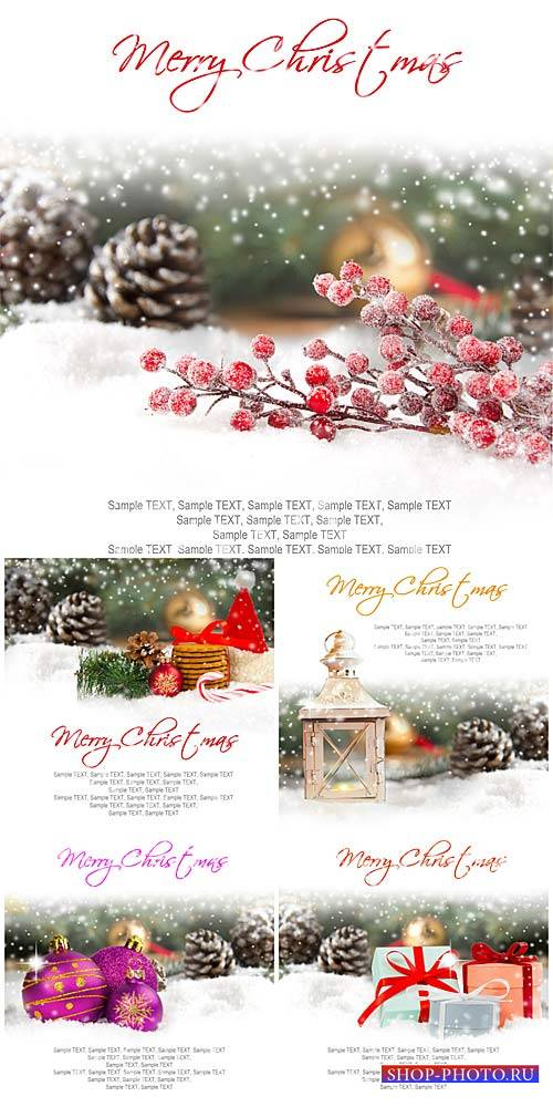 Winter backgrounds, Christmas decorations, pine cones and gifts - stock photos