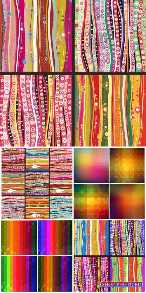 Vector backgrounds with colorful patterns and lines, abstraction
