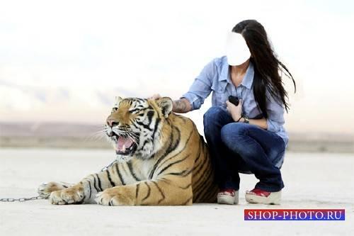 Шаблон для девушек - Рядом с красивым тигром