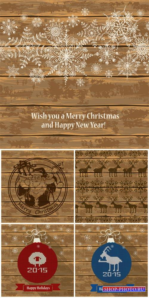 Christmas vector, wooden background