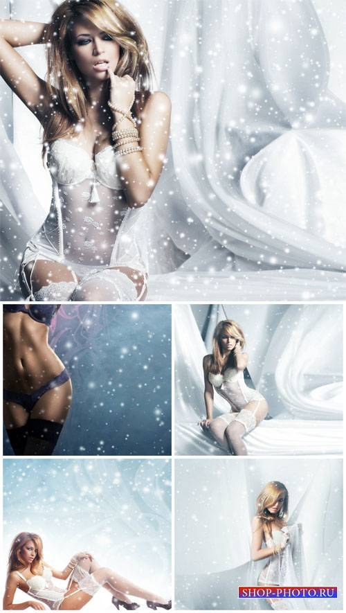 Girl in lingerie on a winter background - Stock photo