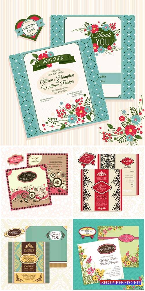 Wedding invitation with flowers and vintage pattern, vector