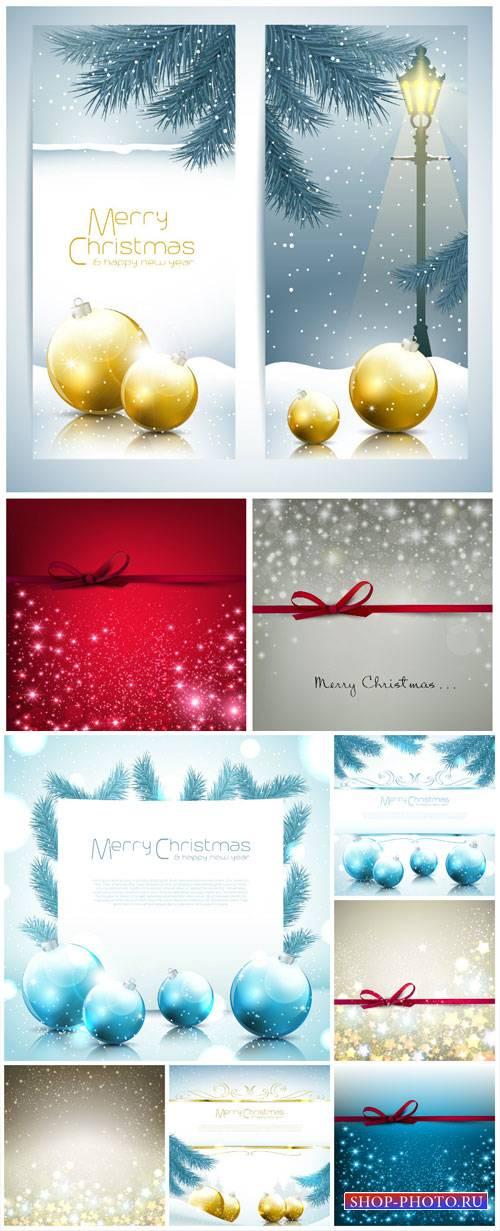 Christmas vector background with Christmas balls and shining stars