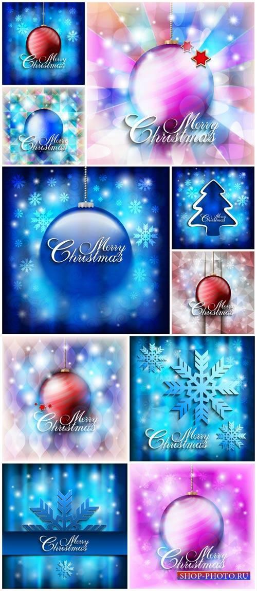 Christmas vector background with Christmas balls and shiny snowflakes