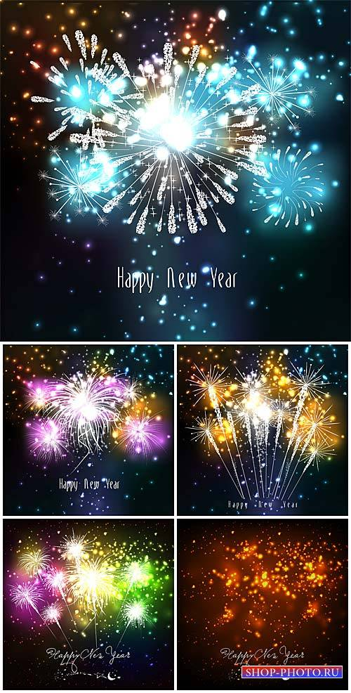 New Year, fireworks, vector backgrounds