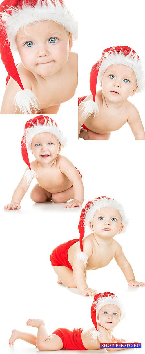 New Year`s baby, baby in santa hat - stock photos