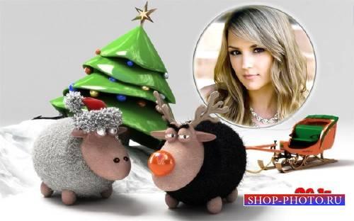 Фоторамка psd - Веселые овцы возле елки