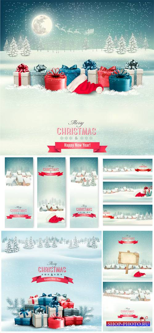 Christmas vector winter background with houses