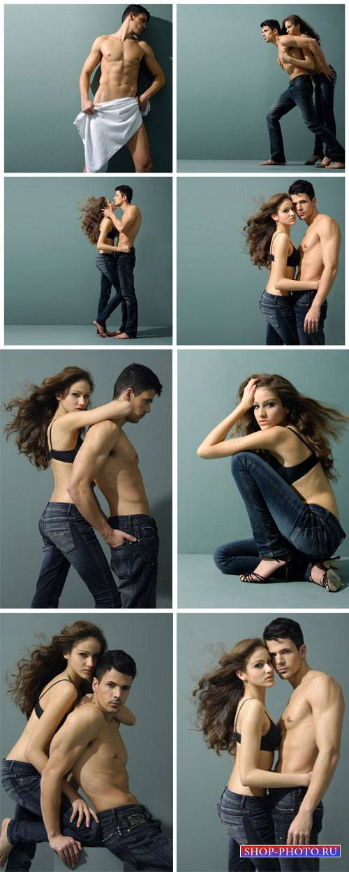 Young couple in jeans, a man and a woman - stock photos