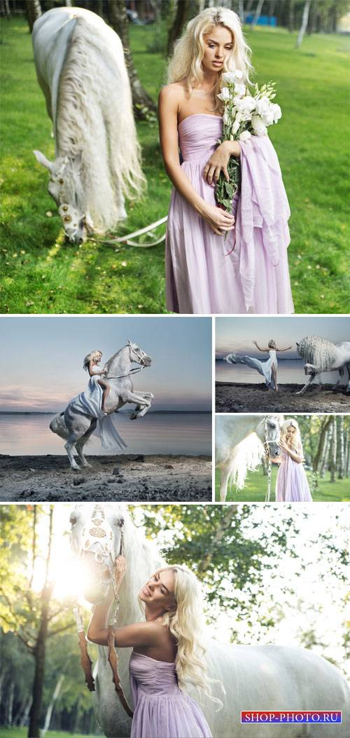 Girl with a white horse - stock photos