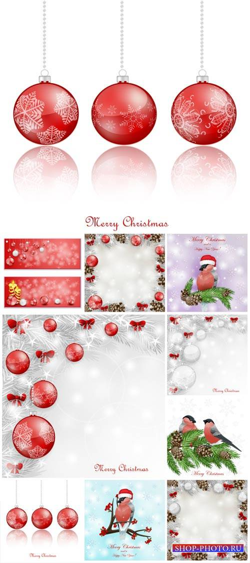 Christmas, new year 2015 vector background with Christmas balls and birds