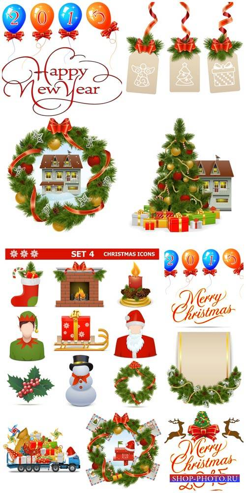 Christmas, new year, holiday elements vector