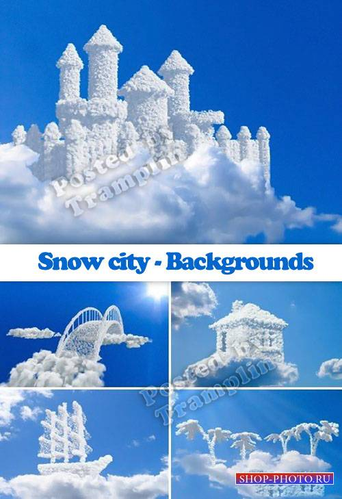 Город снега в облаках - Фоны - Snow city - Backgrounds