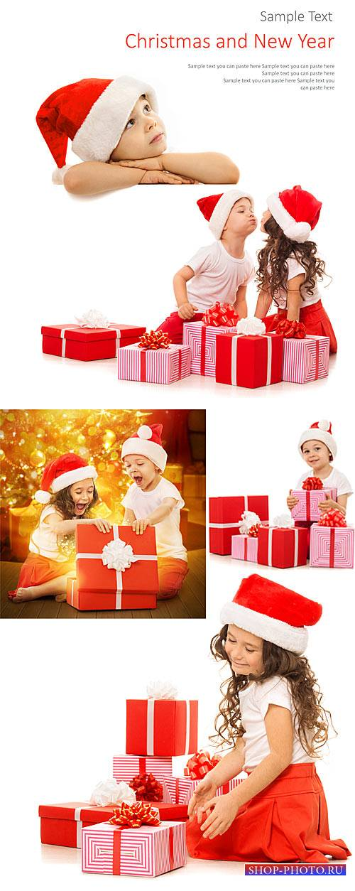 Children and the New Year, gifts for the new year - stock photos