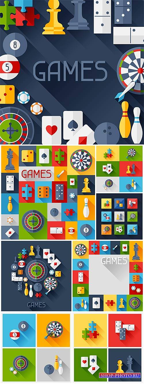 Games, vector icons of different games
