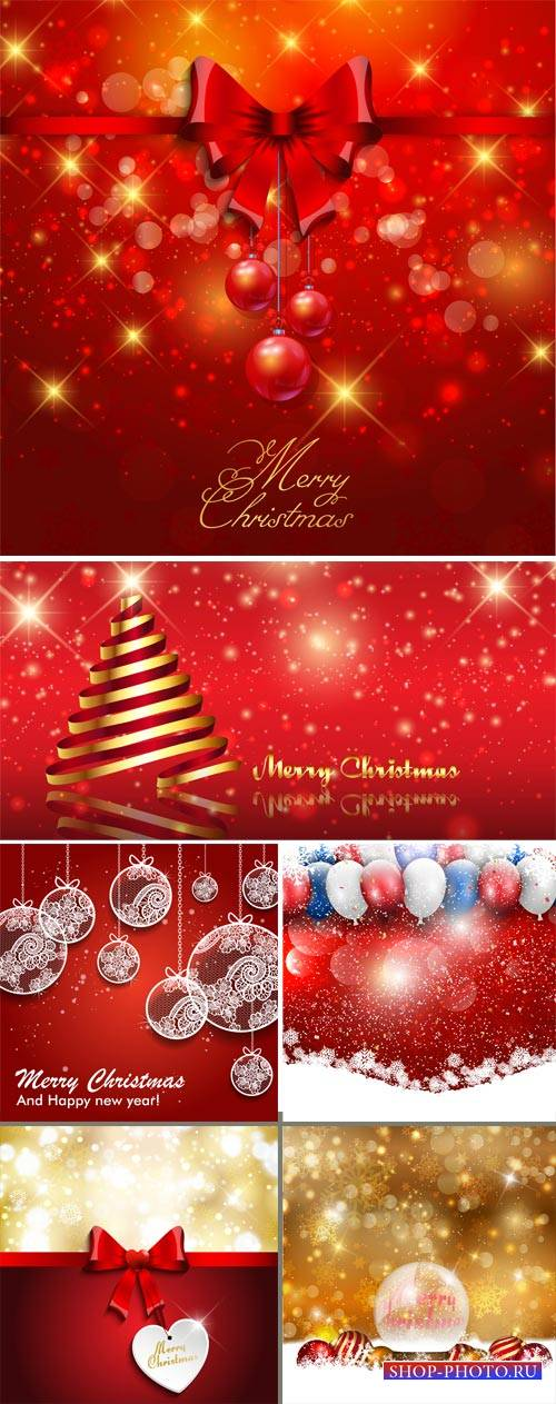 Christmas, Christmas balls, red backgrounds vector