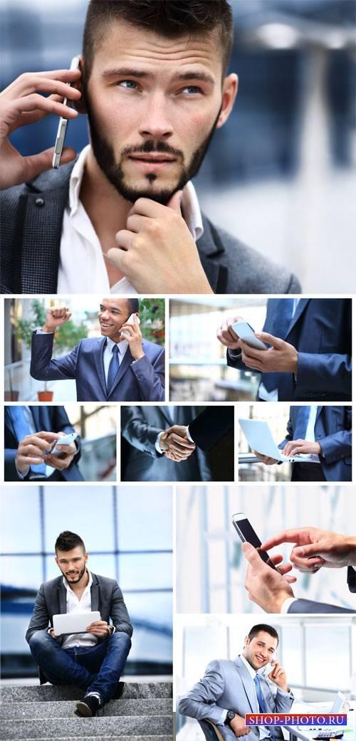 Men and modern technology - stock photos