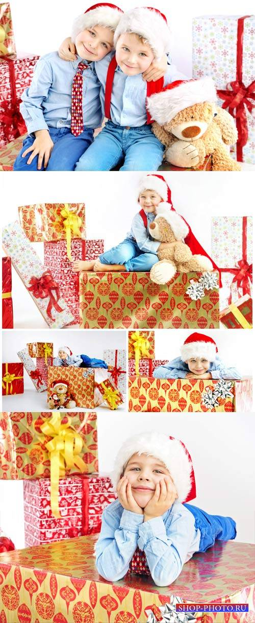 Children and the new year, boys with gifts - stock photos