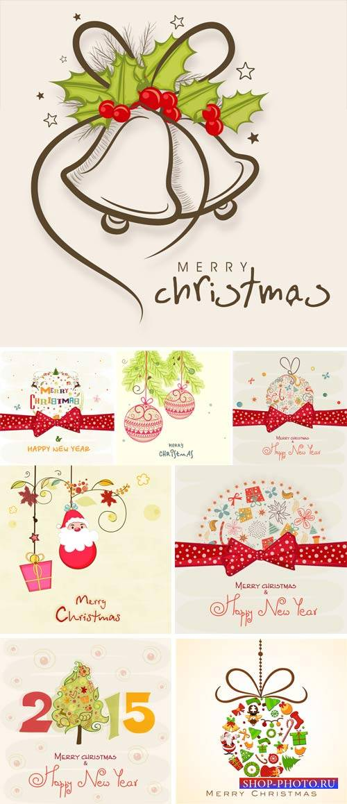 Christmas and New Year in the vector, backgrounds with Christmas balls