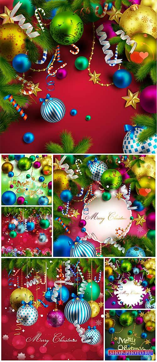 Christmas vector background with colorful shiny balls