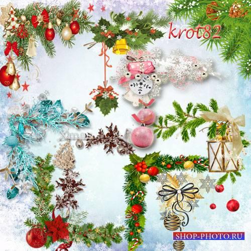 Подборка новогоднего клипарта в PNG формате– Новогодние кластеры, уголки