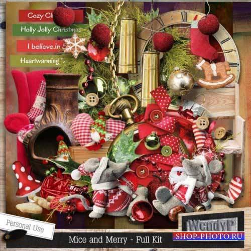 Новогодний скрап-набор - Mice and Merry
