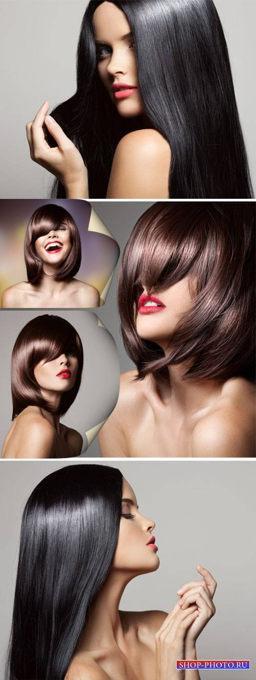 Girl with beautiful hair, hairstyles - stock photos