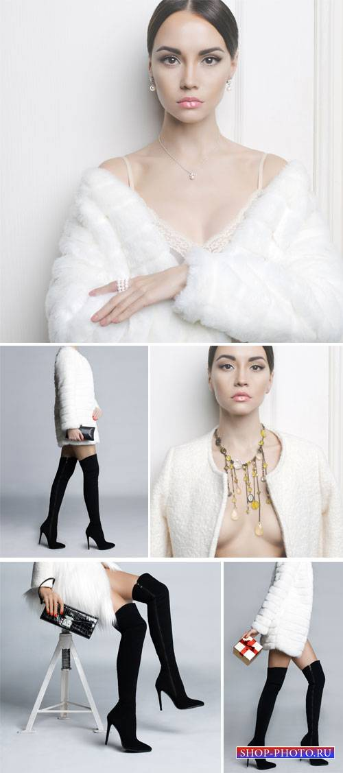 Girl in a white fur coat and black boots - stock photos